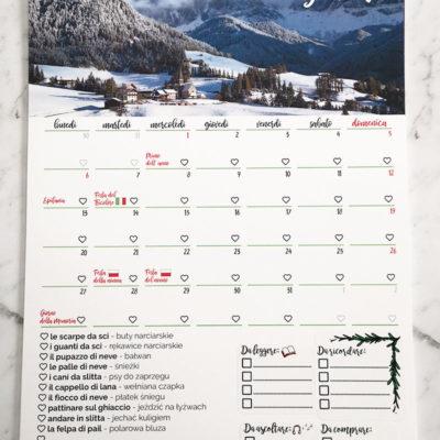 """Przykładowe rozmieszczenie naklejek """"Włoskie planerki"""" wkalendarzu wformacie A4"""