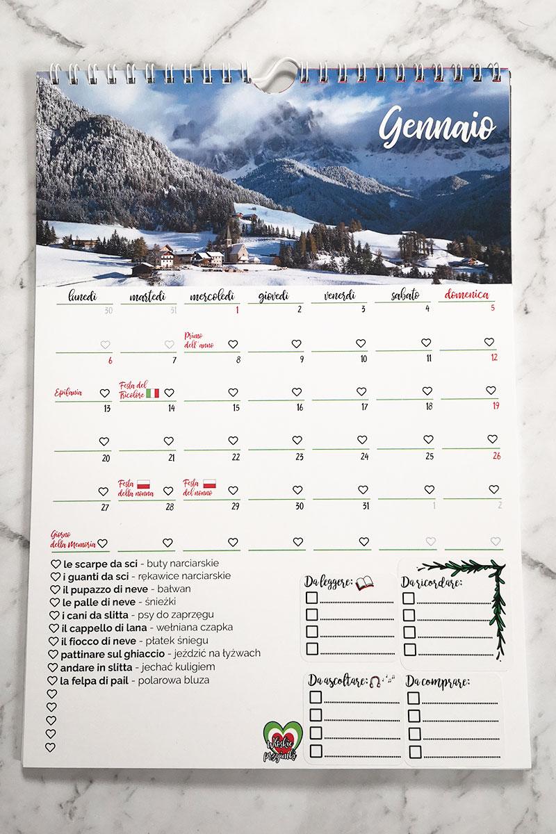 kalendarz przyimkowy przykładowe rozmieszczenie naklejek