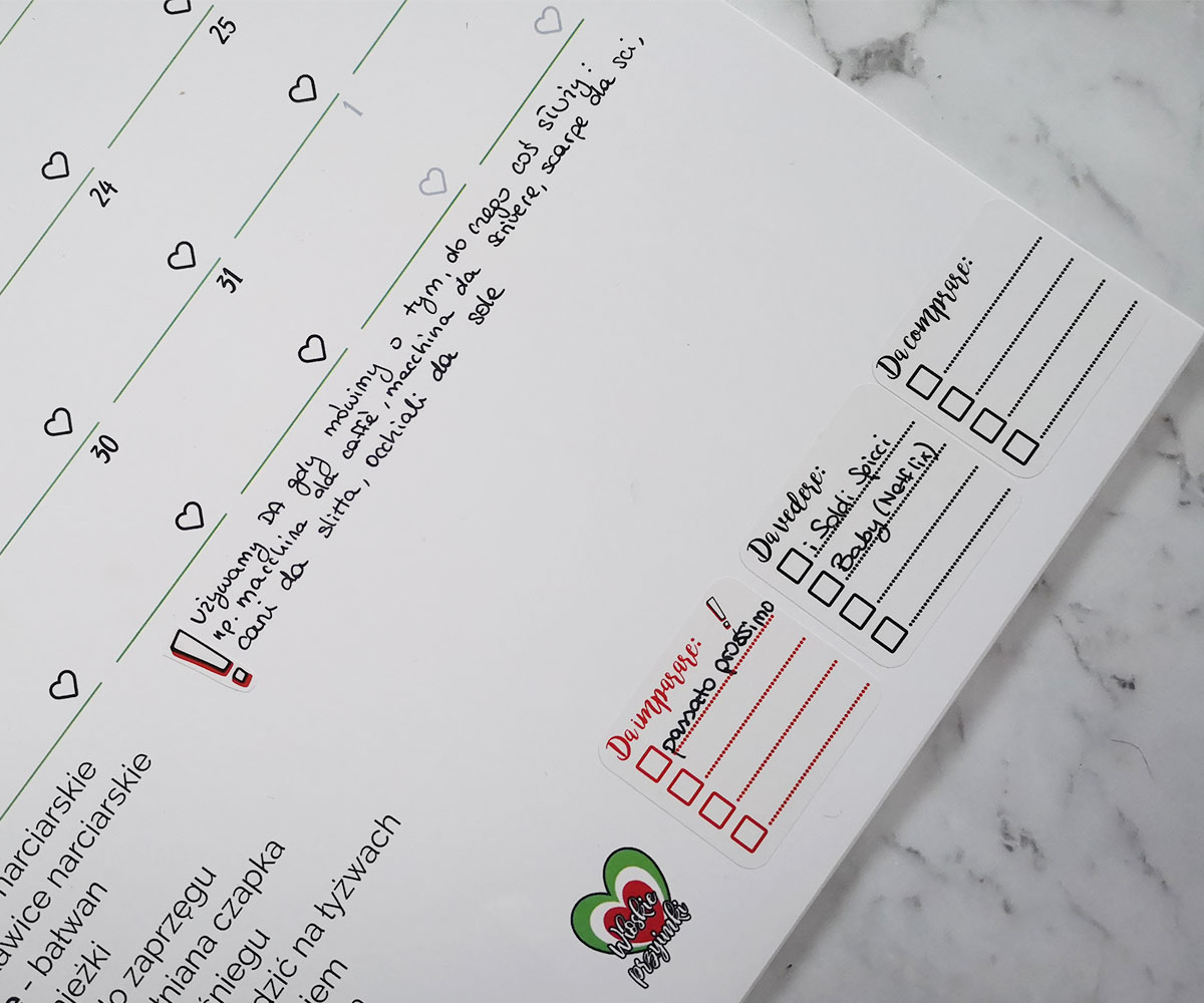 kalendarz przyimkowy i naklejki planerki